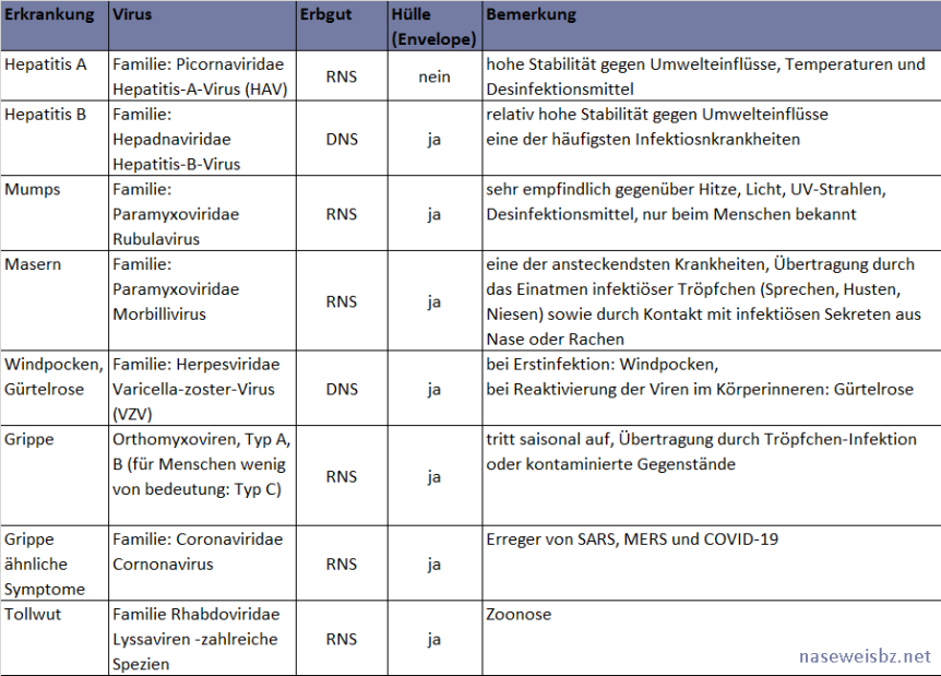 Tabelle: einige Virus-Krankheiten und Virentypen